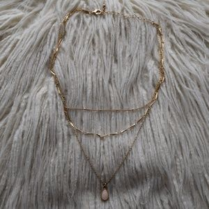Forever 21 Faux Stone Teardrop Layered Necklace